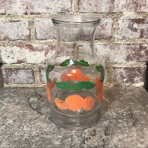 VTG 1987 Orange Glass Pitcher Vintage